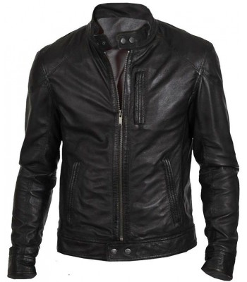 Men's Slim Fit Biker Hunt Black Leather Jacket