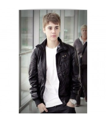 Justin Bieber Heathrow Airport Black Leather Jacket
