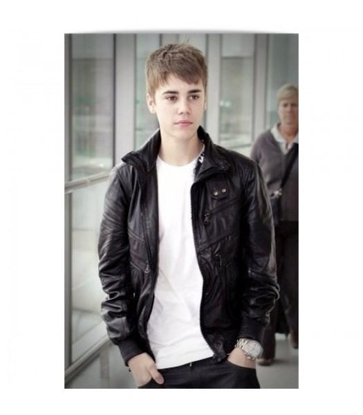 Justin Bieber Heathrow Airport Black Leather Jacket