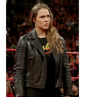 RONDA ROUSEY WWE BLACK MOTORCYCLE LEATHER JACKET
