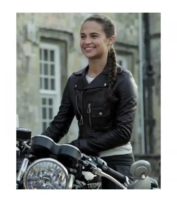 Alicia Vikander Tomb Raider Lara Croft Brando Biker Black Leather Jacket