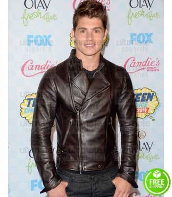 A CINDERELLA STORY CHRISTMAS WISH GREGG SULKIN BROWN BIKER LEATHER JACKET