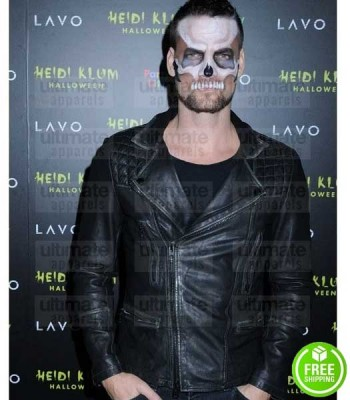 ADAM LAMBERT HALLOWEEN PARTY BLACK BIKER LEATHER JACKET