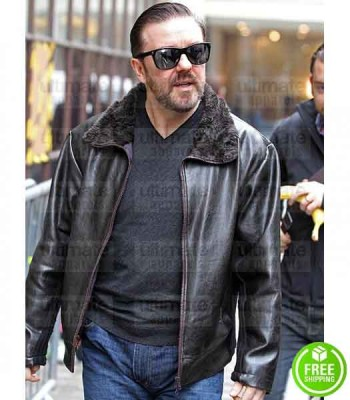 AFTER LIFE RICKY GERVAIS (TONY JOHNSON) BLACK LEATHER JACKET