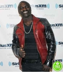 AKON RED AND BLACK LEATHER JACKET