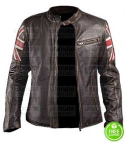 CAFE RACER WITH AMERICAN FLAG BROWN LEATHER JACKET