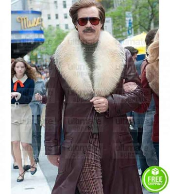 ANCHORMAN 2 THE LEGEND CONTINUES WILL FERRELL (RON BURGUNDY) TRENCH FUR COAT