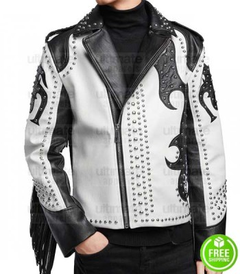 ASYMMETRICAL SILVER STUDDED FRINGE LEATHER JACKET