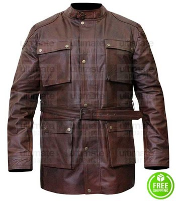 BELSTAFF BELTED BROWN DISTRESSED LEATHER JACKET