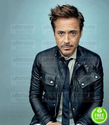 BELSTAFF STYLE ROBERT DOWNEY JR. BLACK LEATHER JACKET