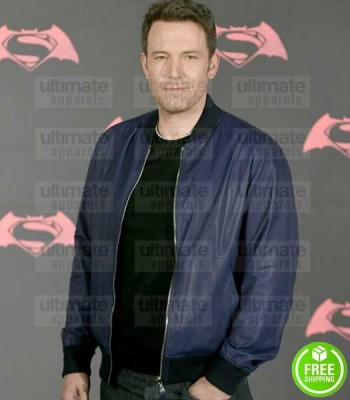 BEN AFFLECK BLUE BOMBER LEATHER JACKET