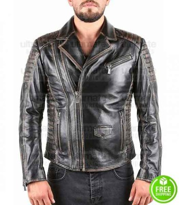 BIKER VINTAGE BLACK DISTRESSED LEATHER JACKET