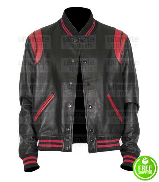 BLACK AND RED LEATHER VARSITY JACKET