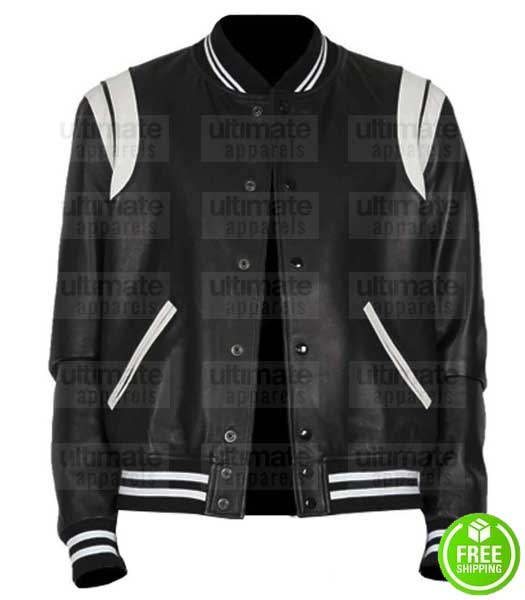 BLACK AND WHITE LEATHER VARSITY LETTERMAN JACKET