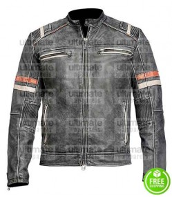 BLACK DISTRESSED LEATHER WITH STRIPES JACKET