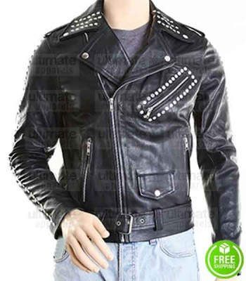 NEW BLACK MOTORCYCLE BIKER LEATHER JACKET