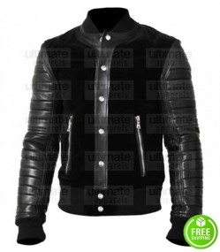 BLACK SUEDE WITH COWHIDE SLEEVES LEATHER BOMBER JACKET
