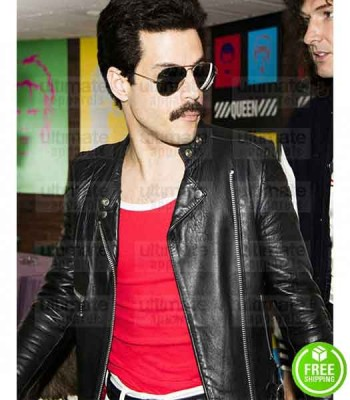 BOHEMIAN RHAPSODY RAMI MALEK (FREDDIE MERCURY) BLACK LEATHER JACKET