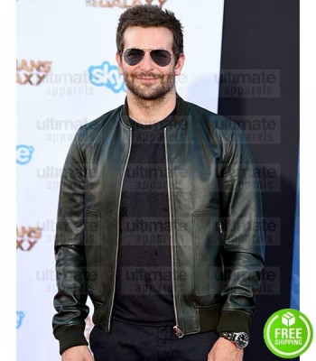 BRADLEY COOPER GREEN BOMBER LEATHER JACKET