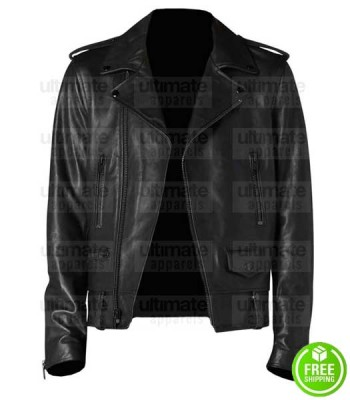 BRANDO BLACK BIKER LEATHER JACKET