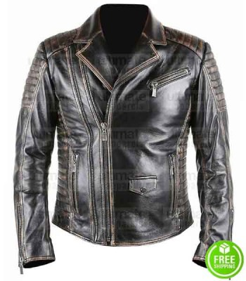 MEN'S BRANDO STYLE BLACK DISTRESSED BIKER LEATHER JACKET