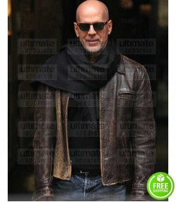 BRUCE WILLIS BROWN DISTRESSED LEATHER JACKET