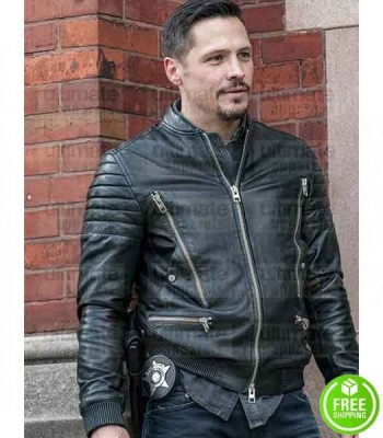 CHICAGO P.D NICK WECHSLER (KENNY RIXTON) BLACK BIKER LEATHER JACKET