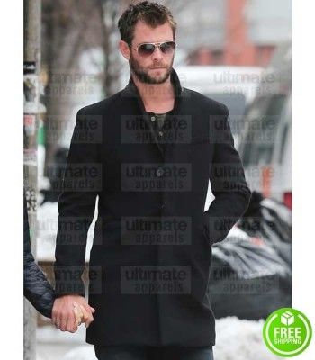 CHRIS HEMSWORTH BLACK WOOL COAT