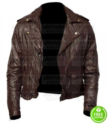 MEN'S DARK BROWN BIKER LEATHER JACKET