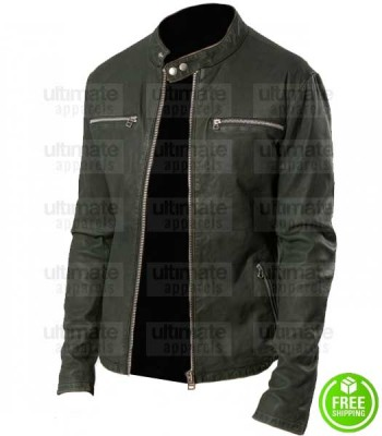 MEN'S DARK GREEN LEATHER JACKET