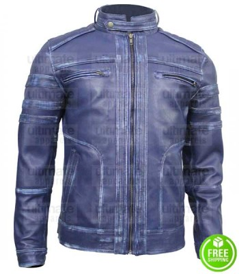 DISTRESSED BLUE LEATHER JACKET