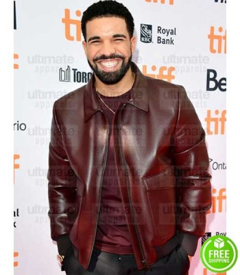 AUBREY DRAKE GRAHAM MAROON BOMBER LEATHER JACKET