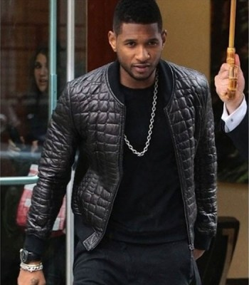 DRAKE QUILTED BLACK BOMBER LEATHER JACKET