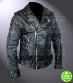 FALLOUT 4 ATOM CATS BLACK DISTRESSED LEATHER JACKET