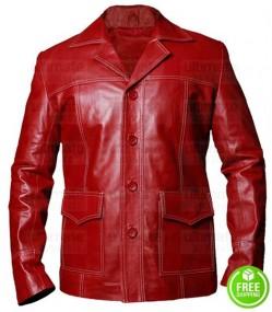 Fight Club Brad Pitt (Tyler Durden) Red Leather Jacket