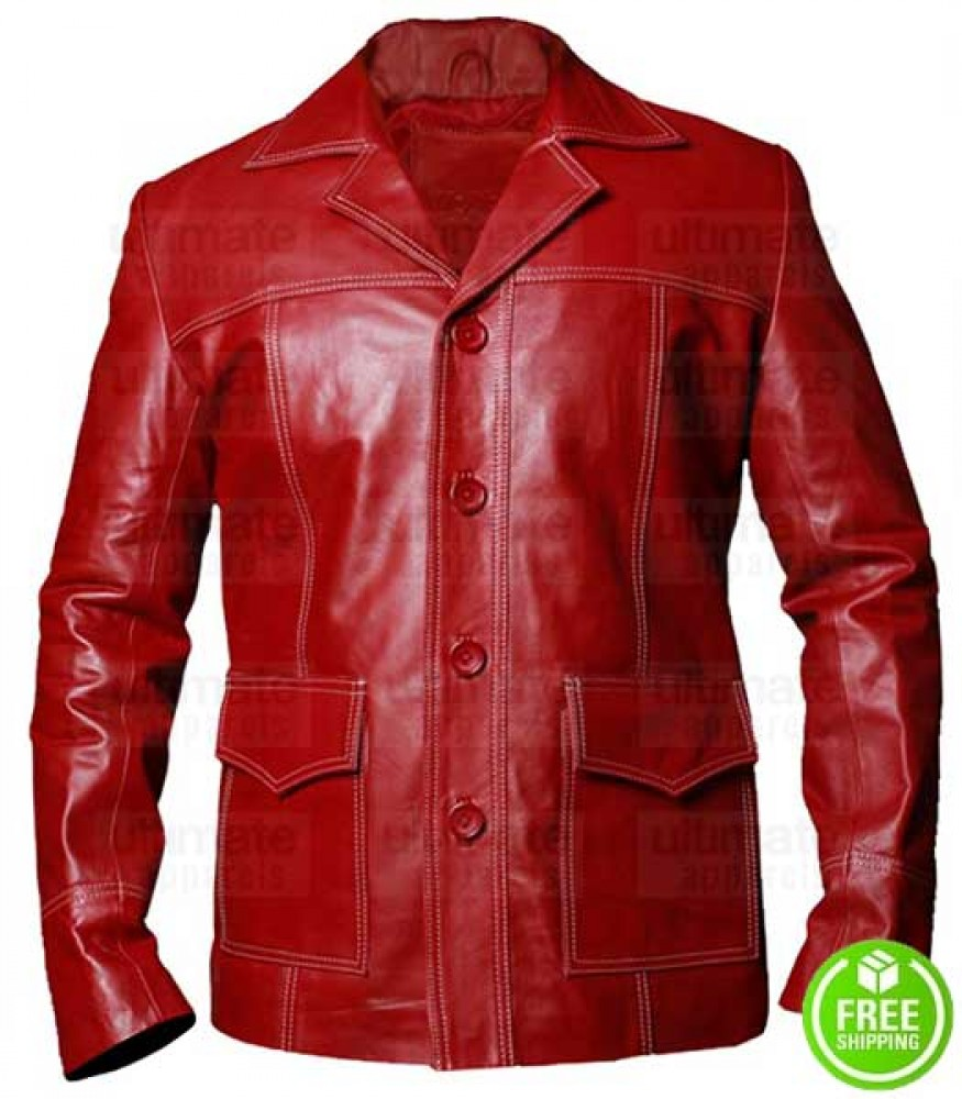Fight Club Brad Pitt (Tyler Durden) Red Leather Jacket