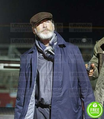FINAL SCORE PIERCE BROSNAN (DIMITRI) BLUE COTTON COAT