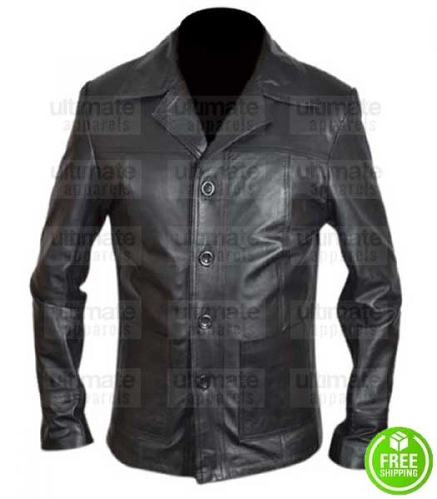 FOUR BUTTONS BLACK LEATHER BLAZER JACKET
