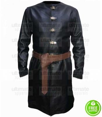GAME OF THRONES JAIME LANNISTER BLACK LEATHER COSTUME COAT