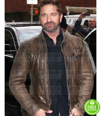 GERARD BUTLER BROWN DISTRESSED LEATHER JACKET