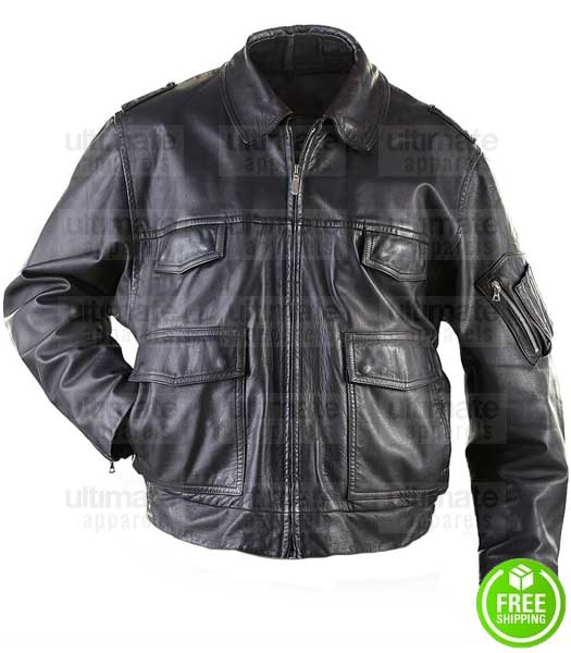 GERMAN MILITARY SURPLUS BLACK LEATHER POLICE MOTORCYCLE JACKET