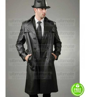 HALLOWEEN FBI STYLE DETECTIVE TRENCH BLACK LEATHER COAT