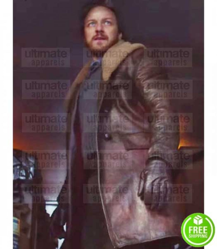 HIS DARK MATERIAL JAMES MCAVOY (LORD ASRIEL) FUR COLLAR LEATHER COAT