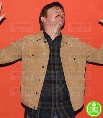 HUNT FOR THE WILDERPEOPLE RHYS DARBY (PSYCHO SAM) BROWN SUEDE LEATHER JACKET