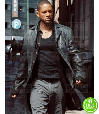 I, ROBOT WILL SMITH (DETECTIVE DEL SPOONER) TRENCH LEATHER COAT