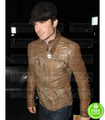 IAN SOMERHALDER BROWN DISTRESSED LEATHER JACKET