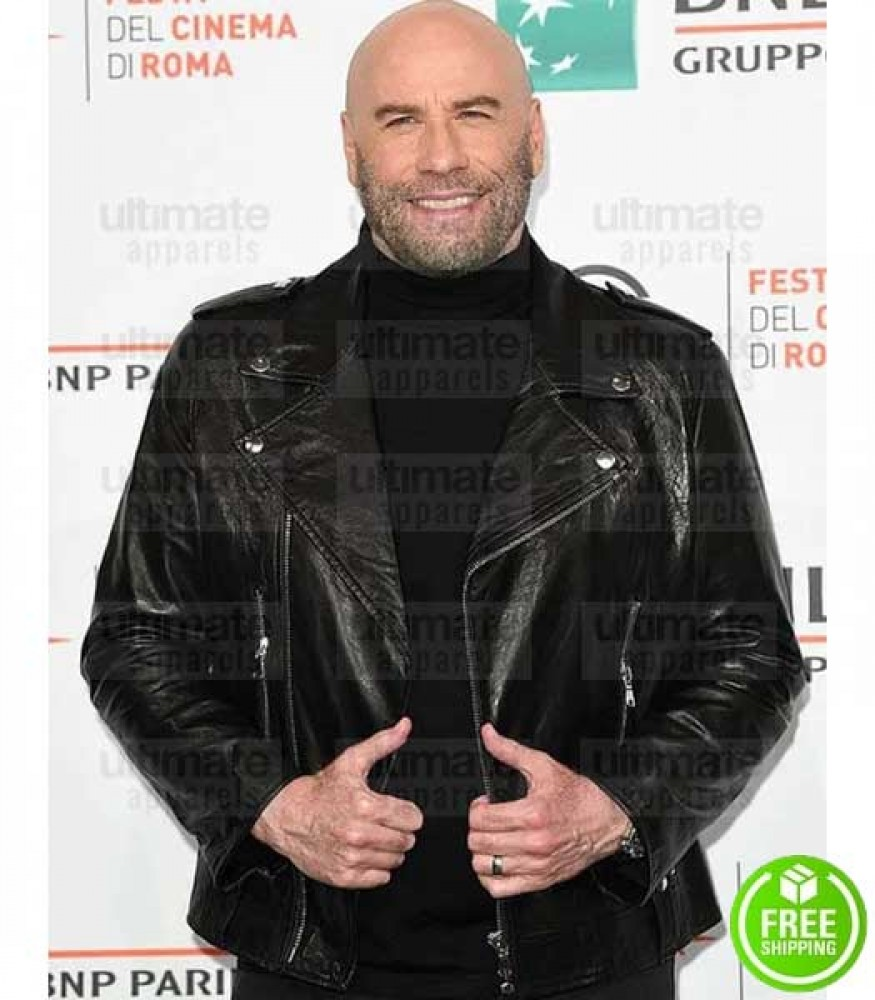 JOHN TRAVOLTA BLACK BIKER LEATHER JACKET