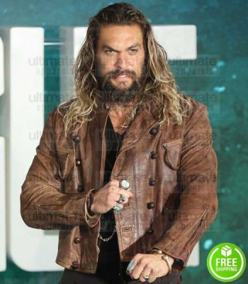 JUSTICE LEAGUE JASON MOMOA (AQUAMAN) DITRESSED LEATHER JACKET