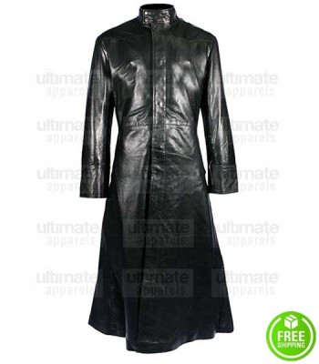 MATRIX KEANU REEVES (NEO) BLACK LEATHER TRENCH COAT