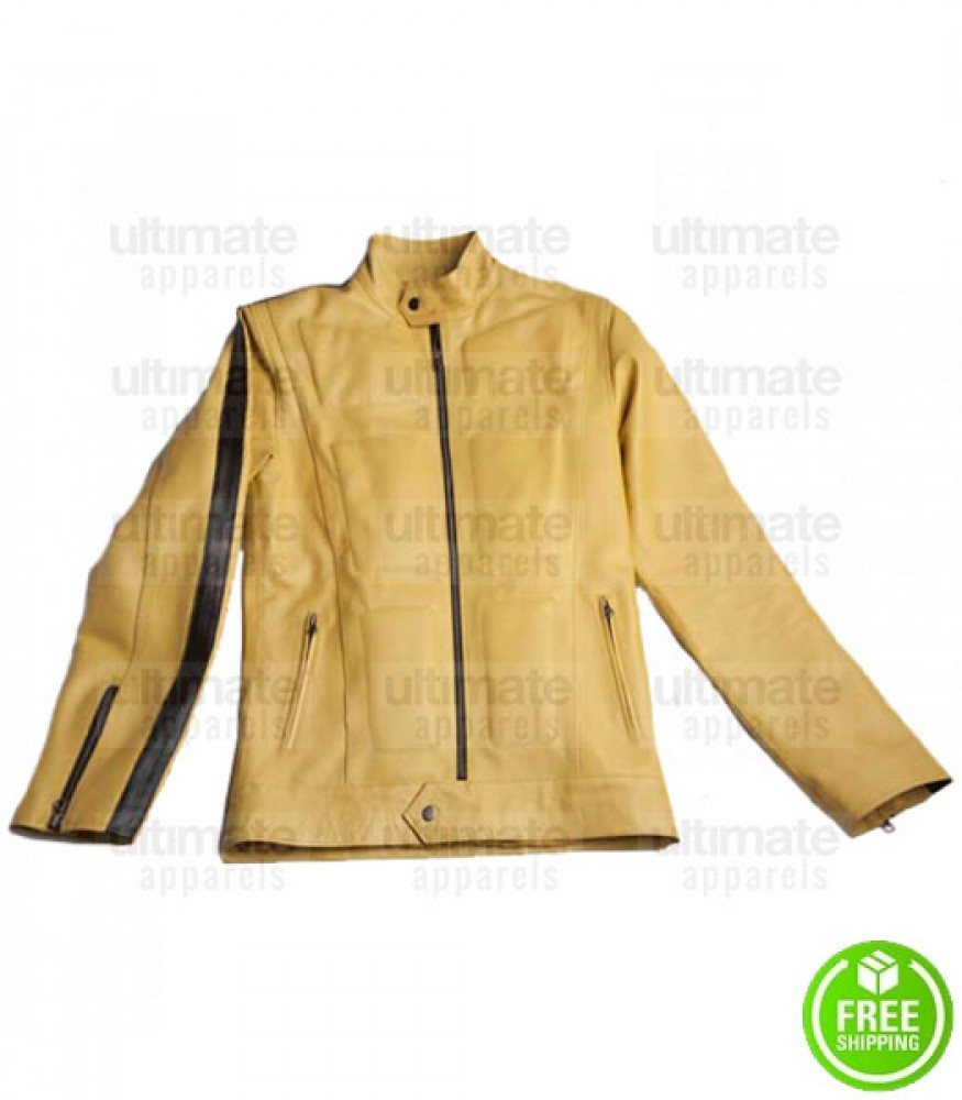 KILL BILL YELLOW SLIM FIT LEATHER JACKET